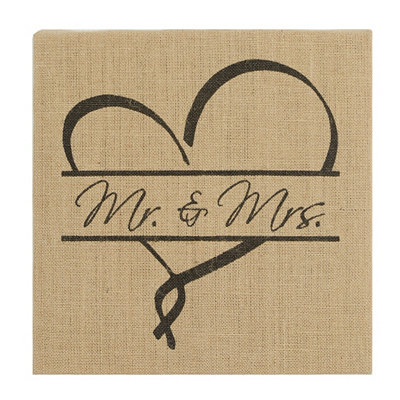 Burlap Mr. & Mrs. Plaque