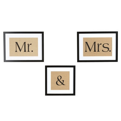 Burlap Mr. & Mrs. Wall Plaques, Set of 3