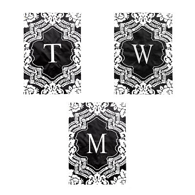Monogrammed Damask Garden Flags