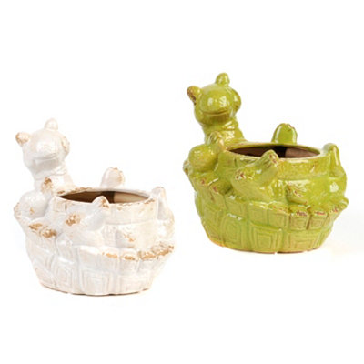 Distressed Ceramic Tortoise Planters