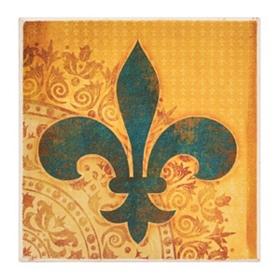 Turquoise & Yellow Stone Fleur-de-lis Coaster