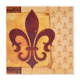 Brown & Tan Fleur-de-lis Coaster