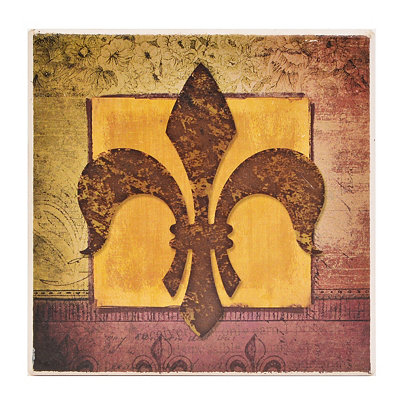 Brown & Purple Fleur-de-lis Coaster