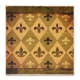 Checkerboard Fleur-de-lis Coaster