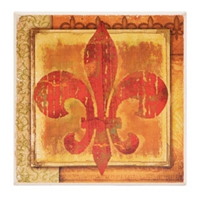 Red & Yellow Stone Fleur-de-lis Coaster