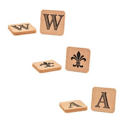 Monogram Burlap Coaster Set