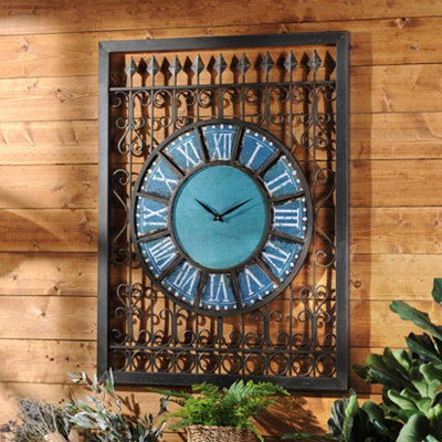 Azure Metal Outdoor Clock