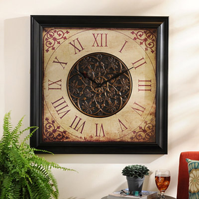 Red Scroll Square Clock