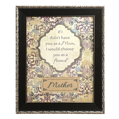 Burlap & Floral Print Mother Wall Plaque