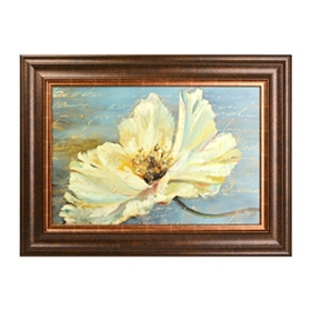 White Flower On Blue Framed Art Print