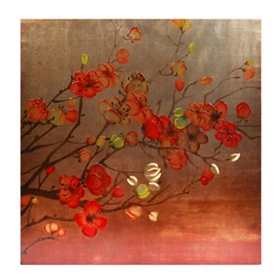 Red Cherry Blossoms Canvas Art Print