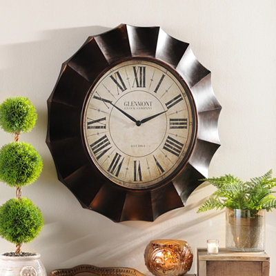 Bronze Wave Clock
