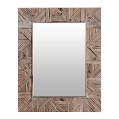 Distressed Wooden Plank Framed Mirror, 32x40