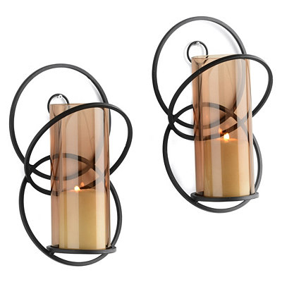 Mocha Orbit Cast Iron Sconces, Set of 2