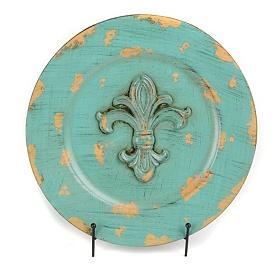 Distressed Turquoise Fleur-de-lis Charger