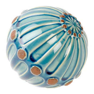 Blue Hobnail Ceramic Orb