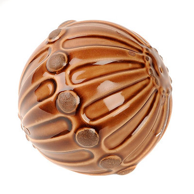 Chocolate Hobnail Ceramic Orb