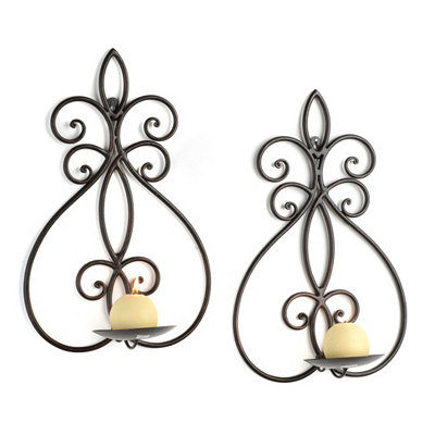 Sabrina Bronze Fleur-de-lis Sconces, Set of 2