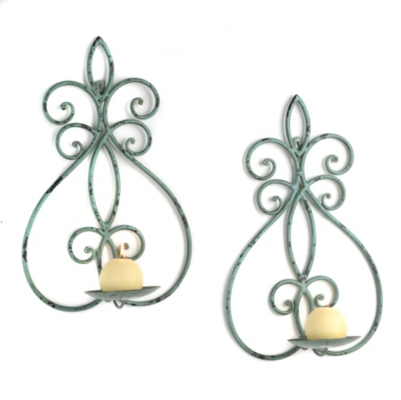 Sabrina Green Fleur-de-lis Sconces, Set of 2