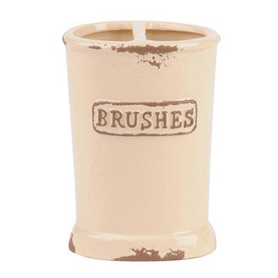 Distressed Ivory Ceramic Toothbrush Holder