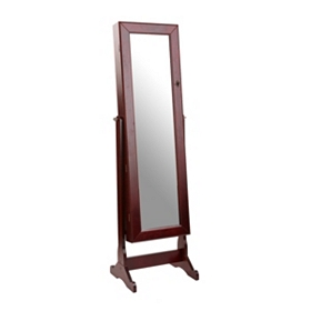 Dark Walnut Cheval Jewelry Armoire Mirror