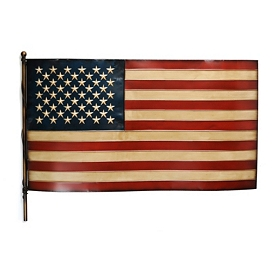 American Flag Embossed Metal Wall Plaque