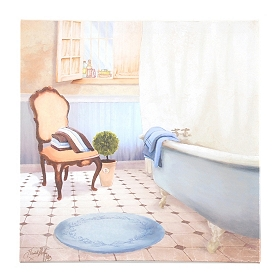 Blue & Beige Bathroom I Canvas Art Print