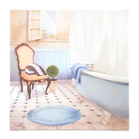 Blue & Beige Bathroom I Canvas Art Print