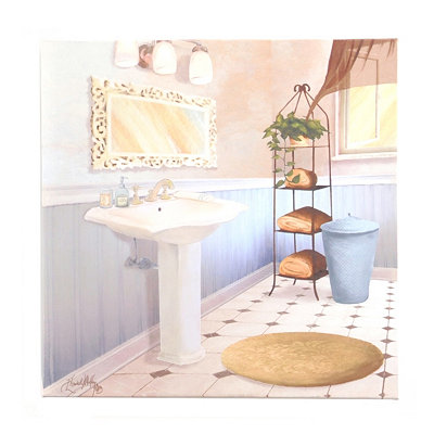 Blue & Beige Bathroom II Canvas Art Print