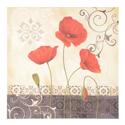 Vintage Red Poppies I Canvas Art Print