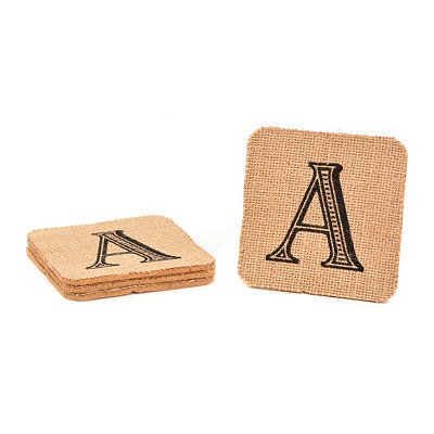 Monogram A Burlap Coasters, Set of 4