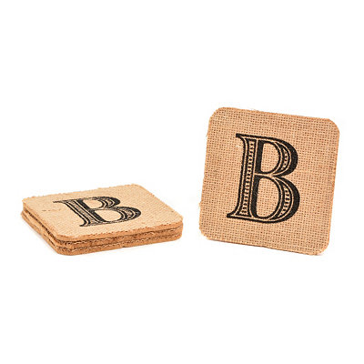 Monogram B Burlap Coasters, Set of 4