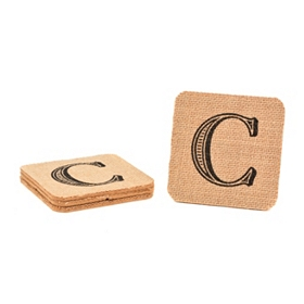 Monogram C Burlap Coasters, Set of 4