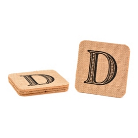 Monogram D Burlap Coasters, Set of 4