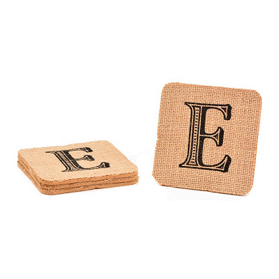 Monogram E Burlap Coasters, Set of 4