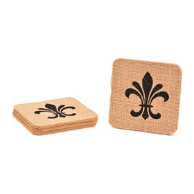 Printed Fleur-de-lis Burlap Coasters, Set of 4