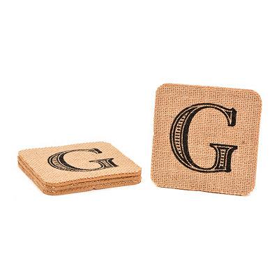 Monogram G Burlap Coasters, Set of 4