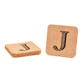 Monogram J Burlap Coasters, Set of 4