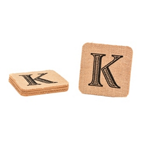 Monogram K Burlap Coasters, Set of 4
