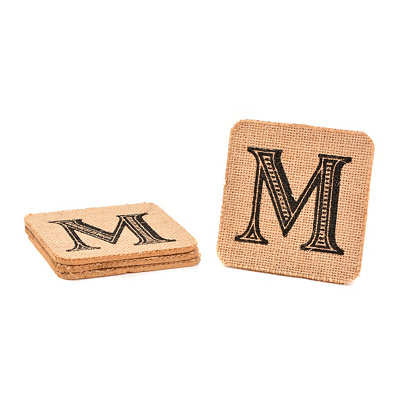 Monogram M Burlap Coasters, Set of 4