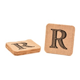 Monogram R Burlap Coasters, Set of 4