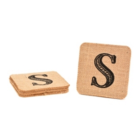 Monogram S Burlap Coasters, Set of 4