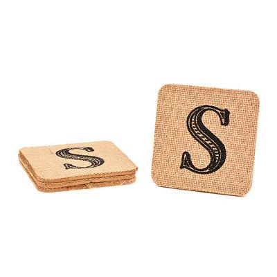 Monogram S Burlap Coasters, Set of 4
