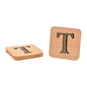 Monogram T Burlap Coasters, Set of 4