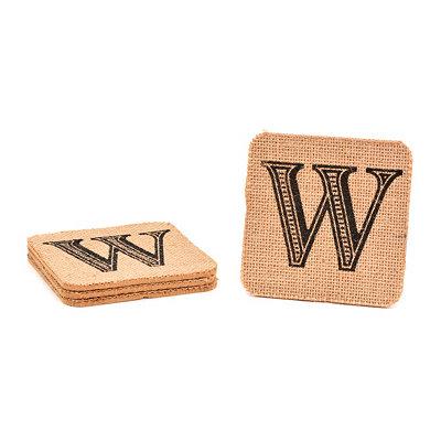 Monogram W Burlap Coasters, Set of 4