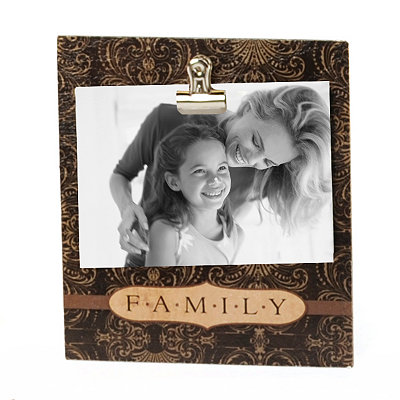 Brown Wood Family Clip Photo Stand