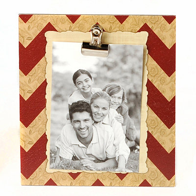 Tan & Maroon Chevron Clip Photo Stand
