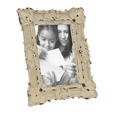 Ornate White Vintage Picture Frame, 4x6