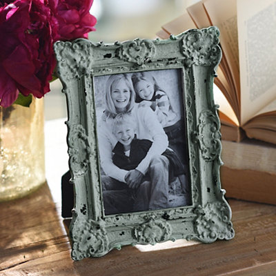 Ornate Vintage Aqua Picture Frame, 4x6