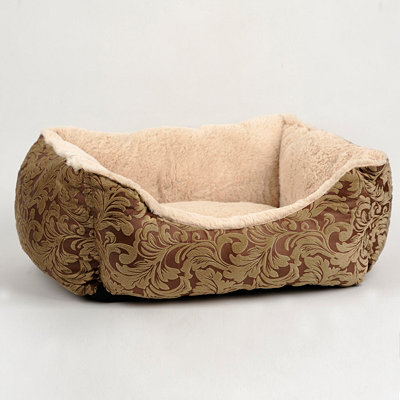 Chocolate Scrollwork Pet Bed